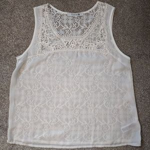 Forever 21 off white sheer blouse lace back L